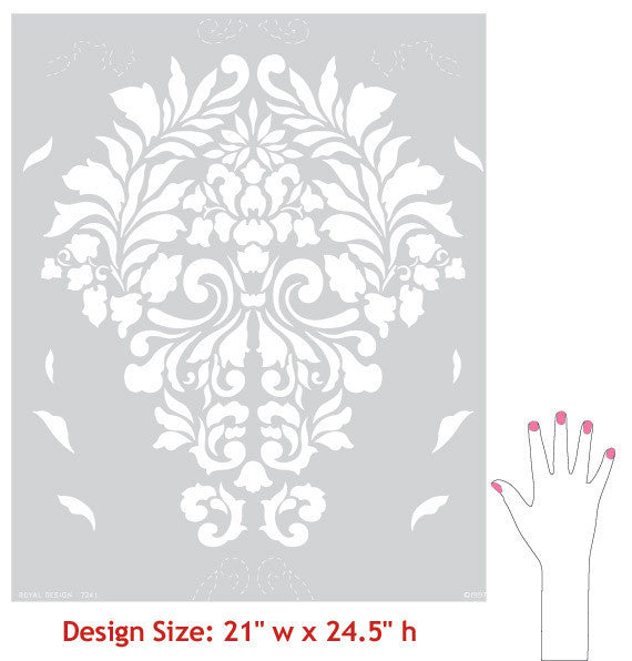 Fabric Damask Wall Stencil patterns
