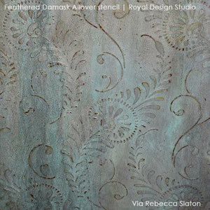 Decorative Paining for Elegant Walls - Feather Damask Wall Stencils - Royal Design Studio