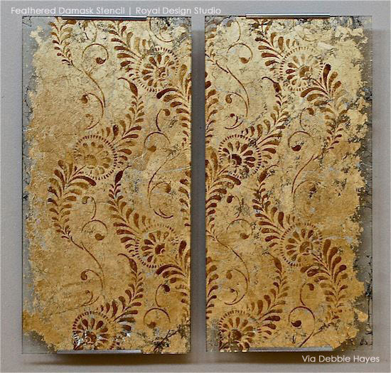 Decorative Wall Art and DIY Projects using Feather Damask Wall Stencils - Royal Design Studio