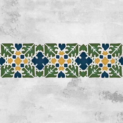 Moroccan Stencils Fez Block Border Stencil Royal