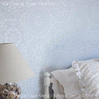 Shabby Chic Lace Wall Stencils for DIY Wallpaper Look - Royal Design Studio