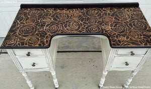 Wood Pattern Desk Top Stained with Rockin Roses Damask Stencils - Royal Design Studio