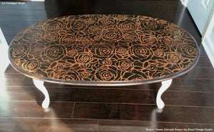 Wood Pattern Table Top Stained with Rockin Roses Damask Stencils - Royal Design Studio