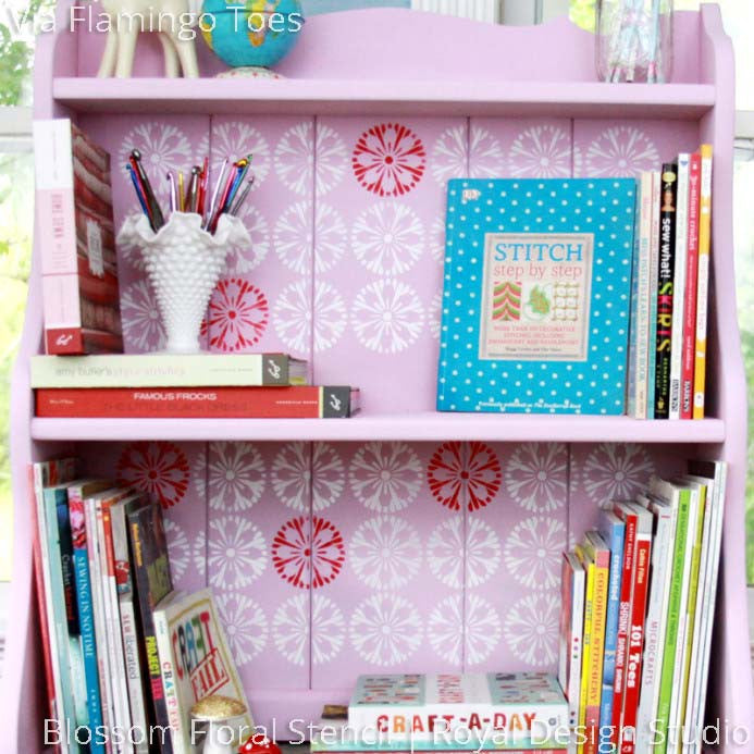 Pink Painted Bookshelf for Girls Room using Modern Flower Stencils