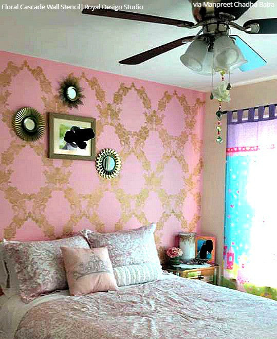 Large Wall Stencils | Vintage Flower Stencils for DIY Wallpaper ...