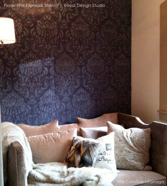 Classic and Elegant Florentine Damask Stencil Patterns for Painting Wallpaper Looks on Walls - Royal Design Studio