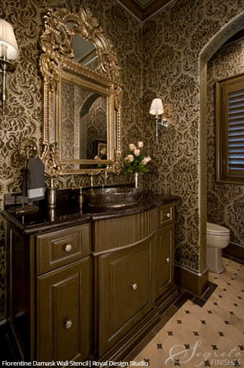 Classic Traditional Glam Bathroom Wall Stencils Large Damask Wallpaper Pattern - Royal Design Studio