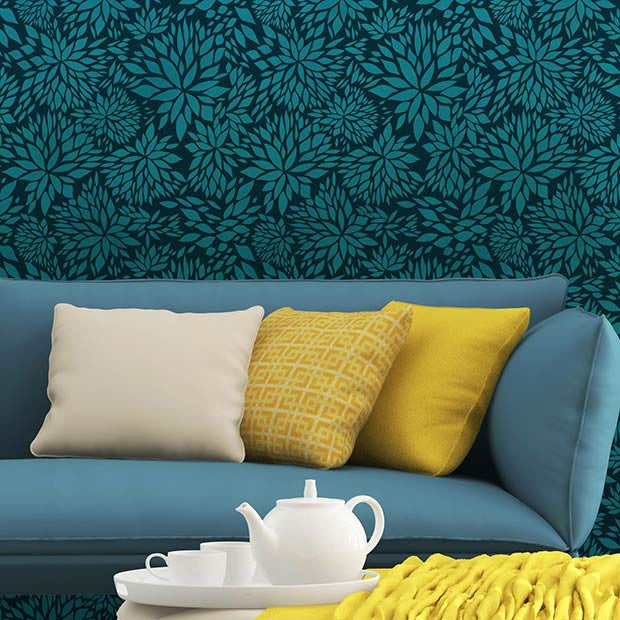 Decorate your home with pattern and color - Petal Play Floral Damask Wall Stencils from Royal Design Studio
