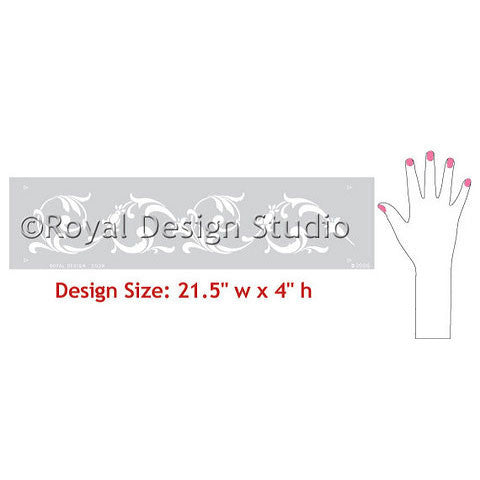 Flowing Floral Border Stencils designs