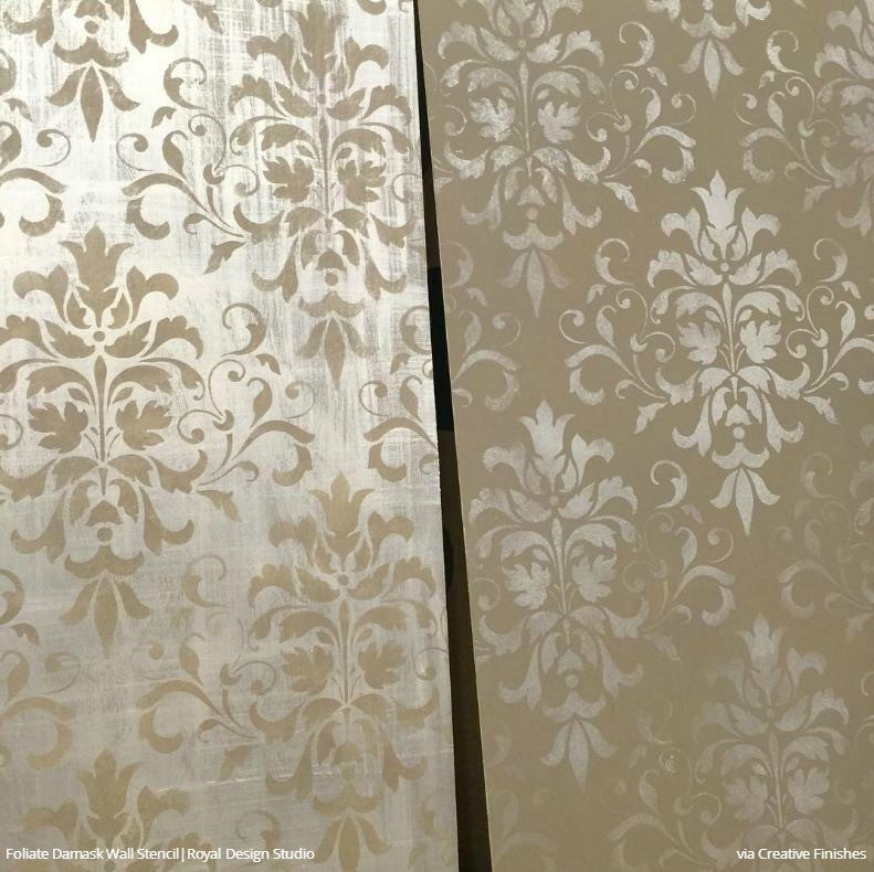 Large Trellis Wall Stencil Acanthus Damask Wall Stencil For Diy