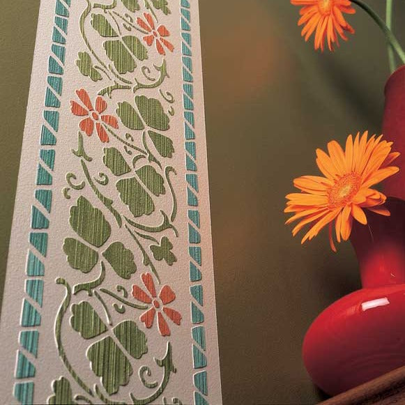 Folk Flower Border Stencils - Classic Border Stencils for Painting Walls - Royal Design Studio