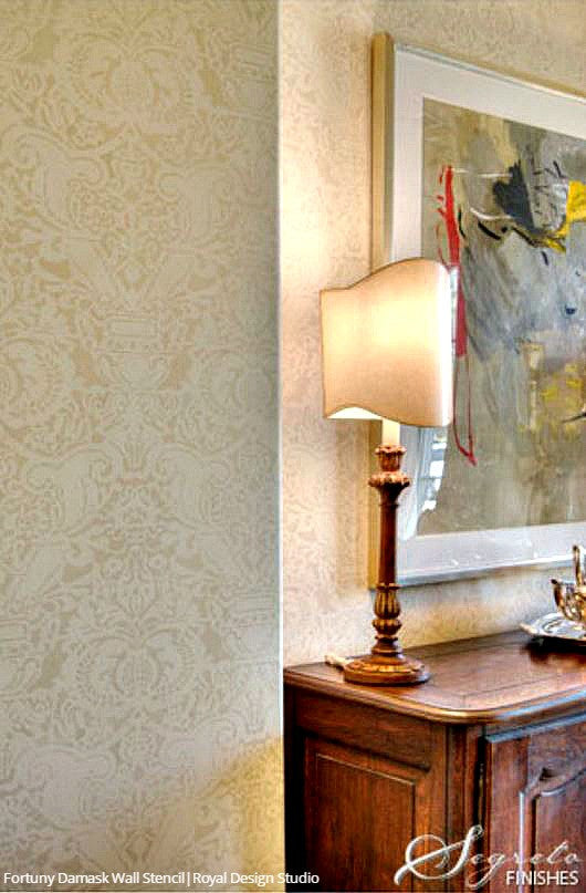 Classic Fortuny Damask Design Large Wall Stencils for Painting Accent Wall - Royal Design Studio