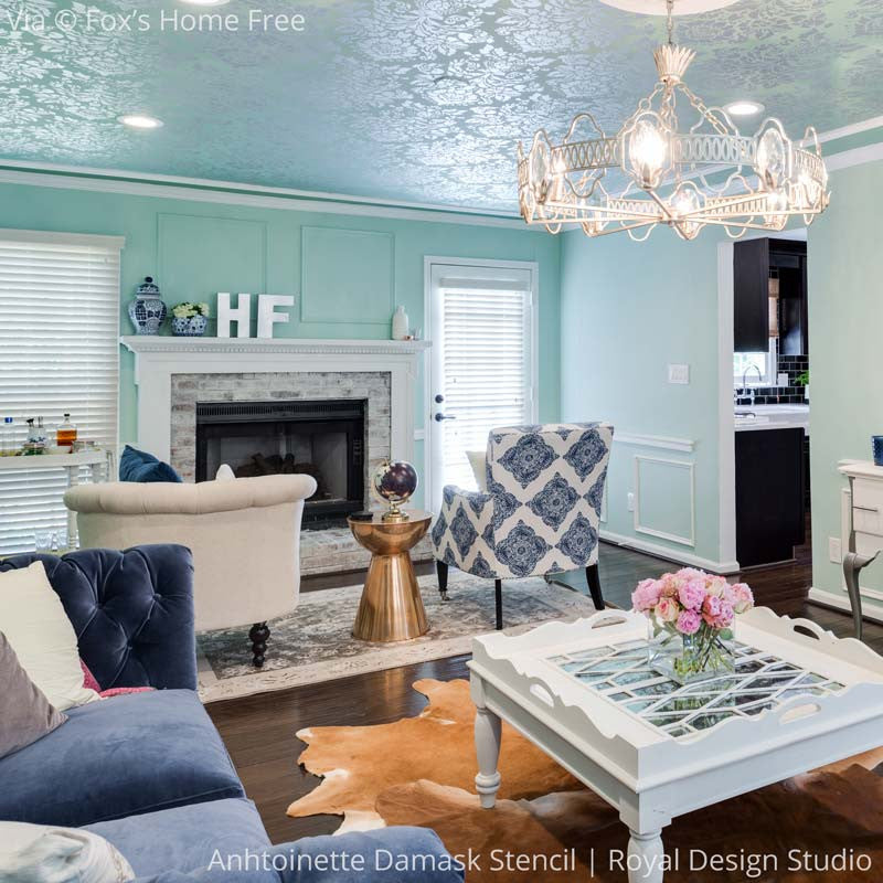 FOX Home Free with Mike Holmes House Renovation and Living Room Makeover - DIY Painted Ceiling with Antoinette Damask Stencils - Royal Design Studio