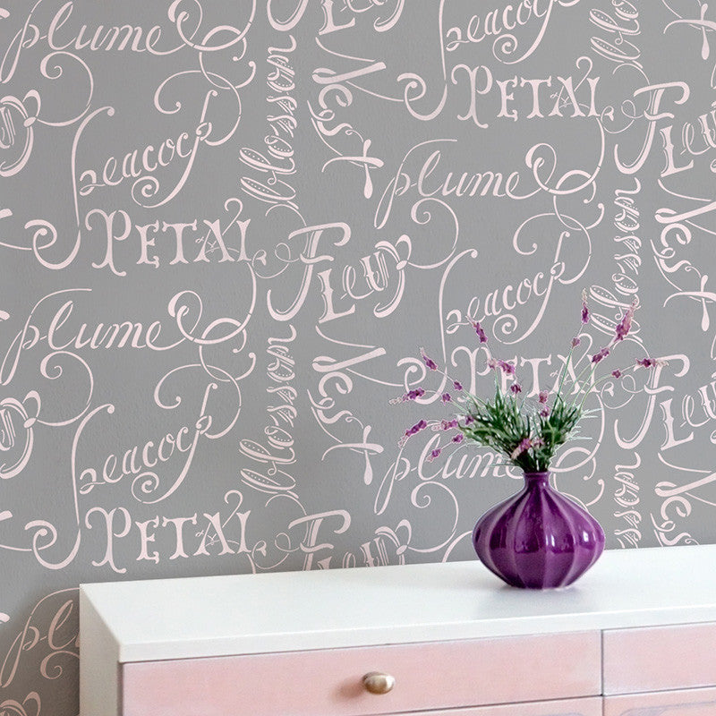 Romantic French Typography Script Wall Quote Stencil