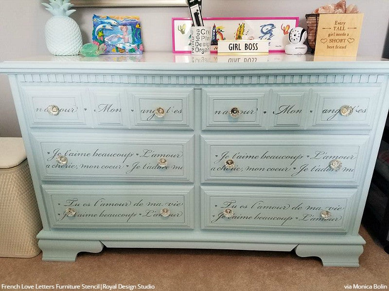 DIY French Phrase Painted Furniture Stencils Girls Room Idea - Royal Design Studio