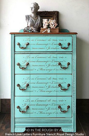 French Love Letters Furniture Stencil