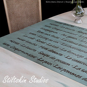 French food lettering stencil for walls and furniture - Royal Design Studio Wall Stencils for Kitchen Backsplash and Dining Room Table Decor