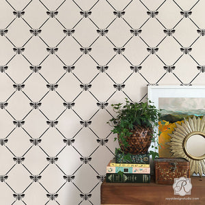 bumble bee trellis pattern wall stencils for diy wallpaper effect - Royal Design Studio wall stencils