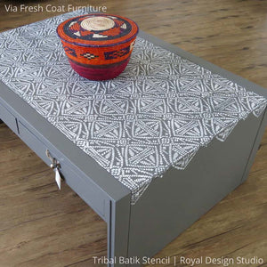 Gray and White Chalk Painted Furniture Project using Tribal Batik Furniture Stencils - Royal Design Studio