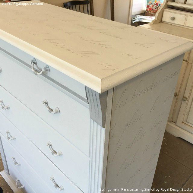 ... Shabby Chic Painted Furniture DIY Project   Springtime In Paris  Lettering Stencils   Royal Design Studio ...