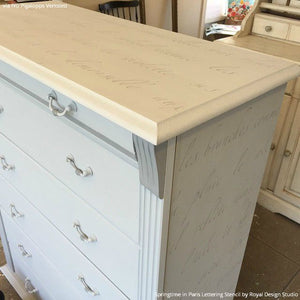 Shabby Chic Painted Furniture DIY Project - Springtime in Paris Lettering Stencils - Royal Design Studio