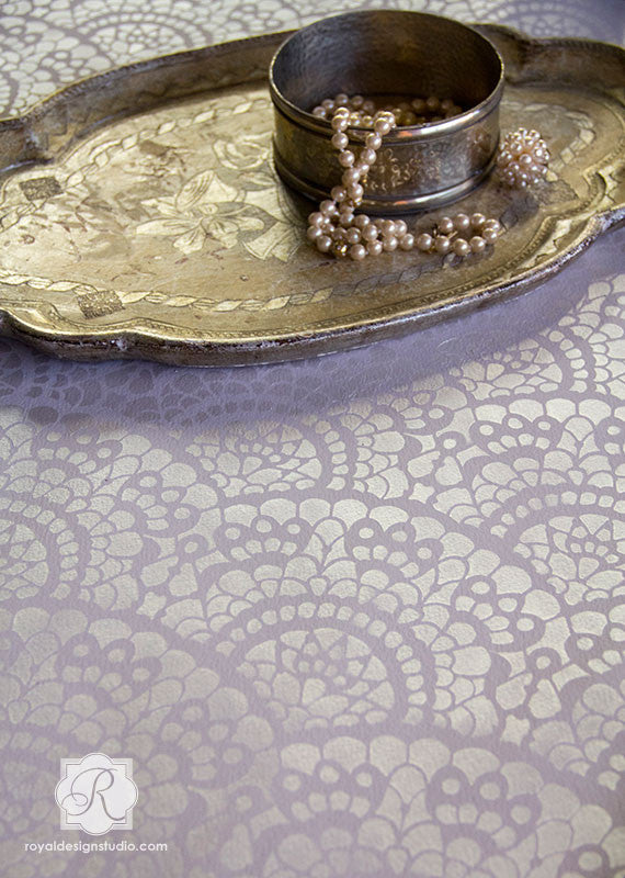 Spanish Lace Scallop Design - Painted Furniture Stencils - Royal Design Studio