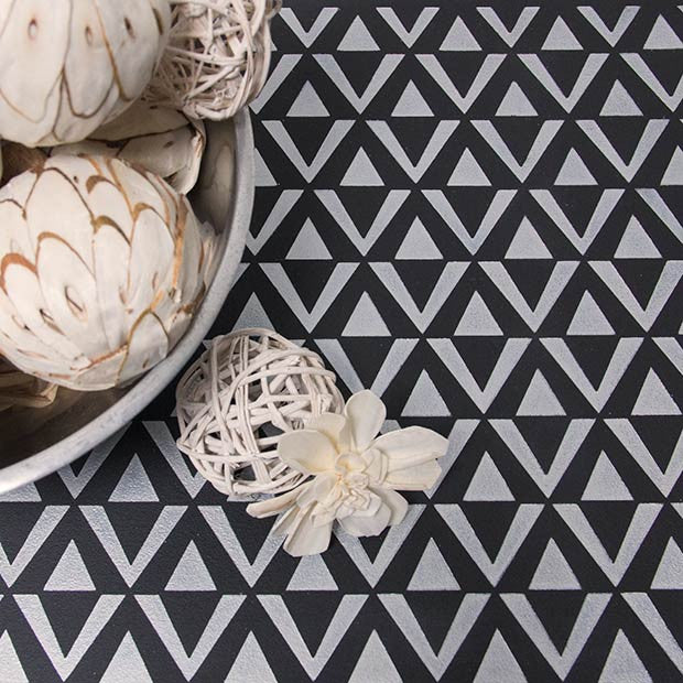 Black and White Table Top Makeover using Modern and Geometric Furniture Stencils