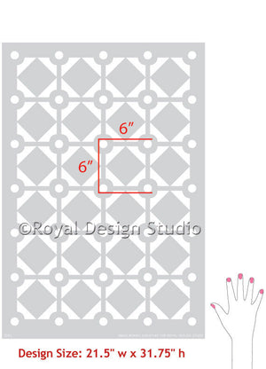 Large Diamonds & Dots, Allover Wall Stencil Pattern, by Bonnie Christine for Royal Design Studio