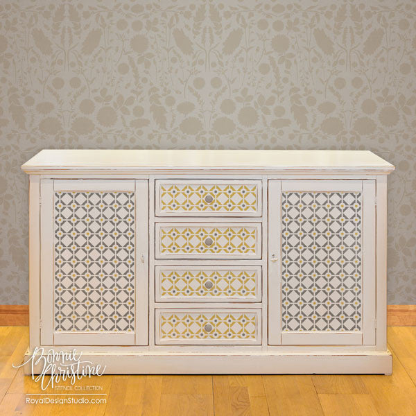 Painting Modern Designs on Furniture with Stencils, Diamonds & Dots, by Bonnie Christine for Royal Design Studio