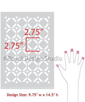 Modern Allover Wall Stencil, Diamonds & Dots, by Bonnie Christine for Royal Design Studio