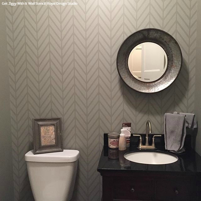 Modern Herringbone Pattern Painted on Allover Wall Designs - Royal Design Studio Wall Stencils