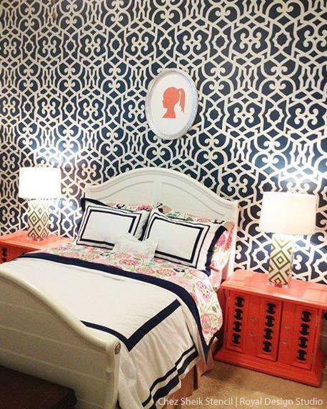 Elegant girls room or teens room decor - DIY Wall Stencils - Moroccan Stencils - Royal Design Studio