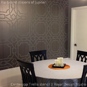 Metallic Gray Dining Room Painted Accent Wall Stenciled with Geometric Contempo Trellis Wall Stencils - Royal Design Studio