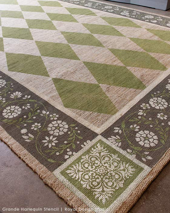 Classic Harelquin Pattern on DIY Painted Floor Rug - Harlequin Floor Stencils - Royal Design Studio