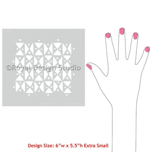 Geometric Triangle Shapes on Craft Projects - Raphia Graphic African Craft Stencils