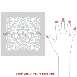 Designer Craft Stencils for Painting Small DIY Projects - Donatella Damask Craft Stencils - Royal Design Studio
