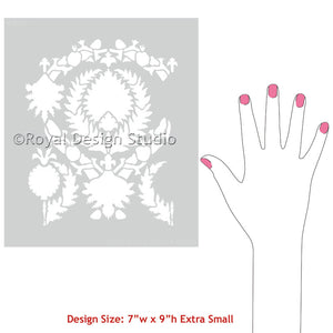 Easy DIY Projects with Painted Pattern using Silk Road Suzani Craft Stencils - Royal Design Studio