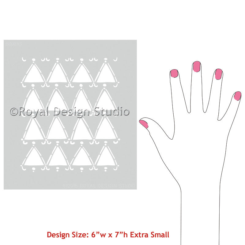 Modern Wall Art and Furniture Projects using Tribal Triangles Craft Stencils - Royal Design Studio