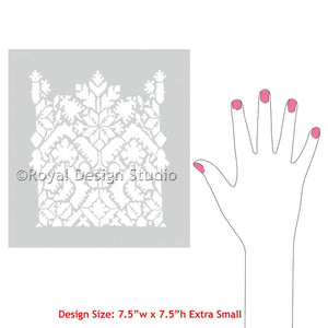 Painted Tables, Dresser Drawers, and more with Moroccan Lace Craft Stencils - Royal Design Studio