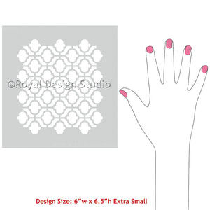 Paint Pillows, Wall Art, or Small Tables with Cashbah Trellis Moroccan Craft Stencils - Royal Design Studio