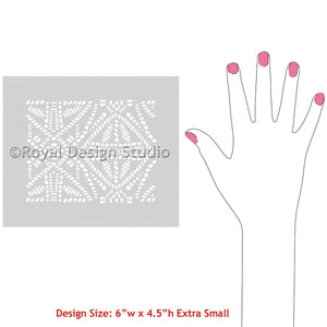 African Design and Tribal Patterns on Furniture and Fabric - Tribal Batik Allover Craft Stencils - Royal Design Studio