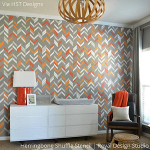 Orange and Gray Boys Nursery Room Decor with Painted Modern Herringbone Shuffle Wall Stencils - Royal Design Studio