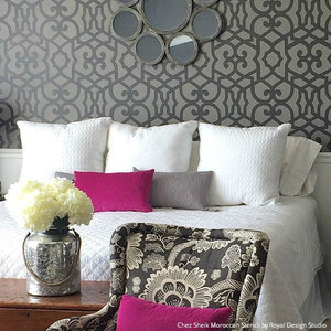 Trendy Designer Bedroom Makeover with Gray Stenciled Accent Wall and Fucshia Accents - Chez Sheik Moroccan Wall Stencils - Royal Design Studio