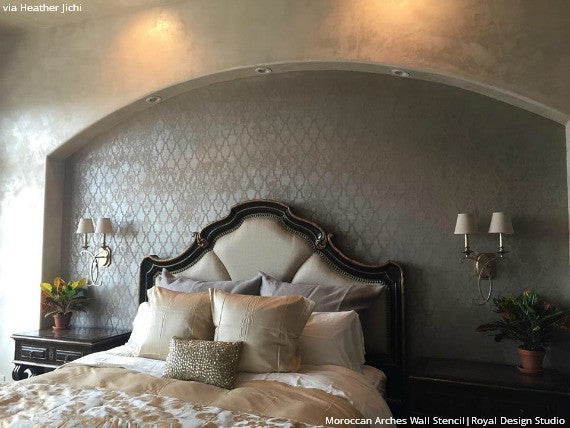 Chic Metallic Bedroom Makeover with Stenciled Accent Wall Overhang - Moroccan Arches Allover Wall Stencils - Royal Design Studio