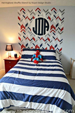 Herringbone Shuffle Stencil by Royal Design Studio