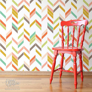 Modern Herringbone Shuffle Wall stencil by Bonnie Christine for Royal Design Studio