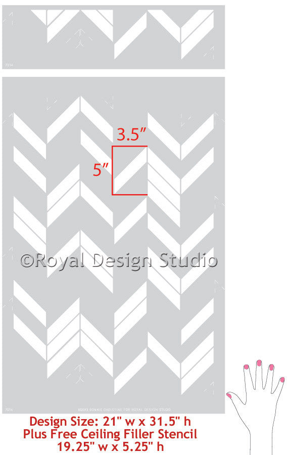 Modern Wall stencil, Herringbone Shuffle, by Bonnie Christine for Royal Design Studio