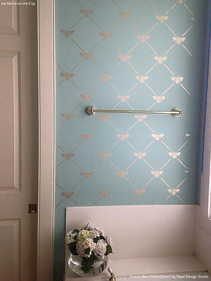 Pastel Blue and Metallic Silver Bathroom Makeover with Wallpaper Look - French Bee Trellis Wall Stencils - Royal Design Studio