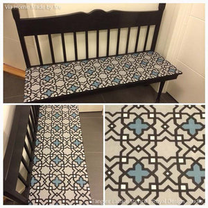 Painting Furniture with Exotic Pattern and Tangier Lattice Moroccan Furniture Stencils - Royal Design Studio