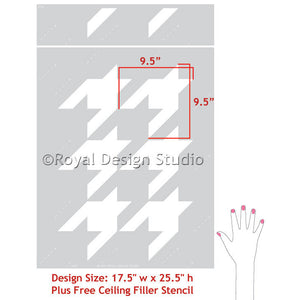 Classic, Retro, or Modern Houndstooth Pattern Allover Wall Stencils for DIY Home Decor Decorating - Royal Design Studio